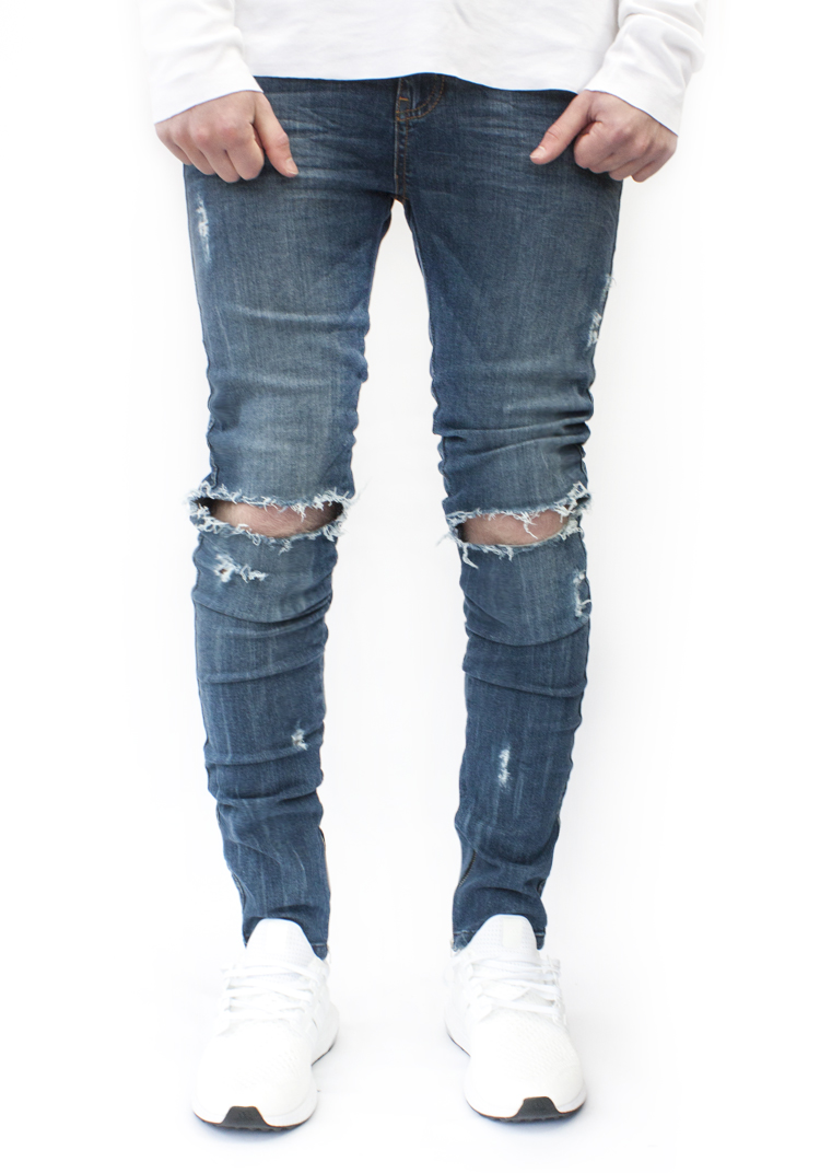 ESSENTIAL DENIM MID BLUE DISTRESSED