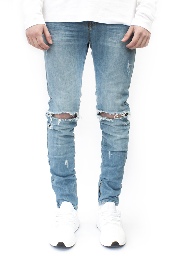 ESSENTIAL DENIM AGED BLUE DISTRESSED